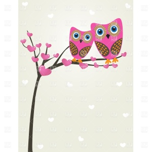 greetings-card-with-two-cute-owls-on-the-tree-branch-Download-Royalty-free-Vector-File-EPS-45989